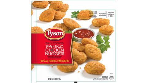 """Tyson Foods Inc. is recalling approximately 132,520 pounds of fully cooked chicken nugget products that may be contaminated with hard plastic. The items in recall are 5-pound bags of fully cooked panko chicken nuggets with a """"Best If Used By"""" date of July 18, 2017, and case code 2006SDL03 and 2006SDL33, and the 20-pound bulk packages of Spare Time fully cooked nugget-shaped chicken breast pattie fritters with rib meat with a production date of July 18, 2016, and case code 2006SDL03."""