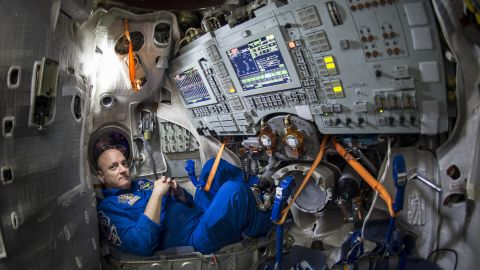 STAR CITY, RUSSIA - MARCH 5: In this handout from National Aeronautics and Space Administration or NASA, Astronaut Scott Kelly is seen inside a Soyuz simulator at the Gagarin Cosmonaut Training Center (GCTC) March 5, 2015 in Star City, Russia.