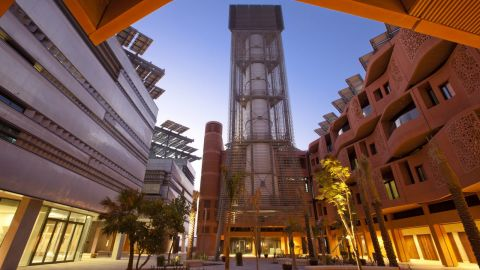 A 45m-high wind tower in Masdar City takes inspiration from traditional Arab technology. It produces a cooling effect, by directing hot air up and out of its surrounding area, as well as bringing cooler air from above down to the surface.