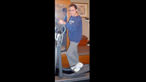 """Justice Ruth Bader Ginsburg works out on an elliptical during a training session at the Supreme Court, sporting her """"Super Diva"""" sweatshirt on August 30, 2007."""