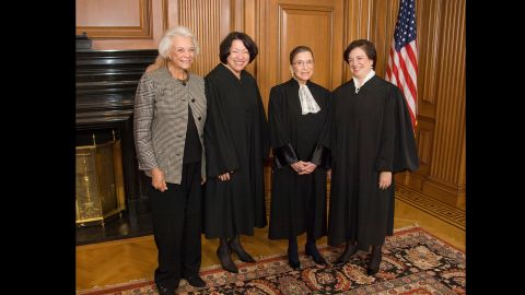 The only women who have become Supreme Court Justices pose in the Justices' Conference Room on October 1, 2010, the day of Justice Elena Kagan's investiture. Standing, from left to right, are retired Justice Sandra Day O'Connor and Justices Sonia Sotomayor, Ruth Bader Ginsburg, and Elena Kagan.