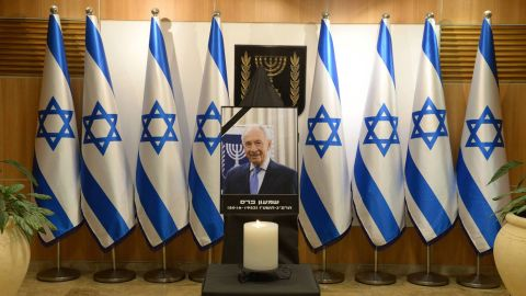 A portrait of Peres is displayed at the Knesset plaza in Jerusalem, where his body laid in state on Thursday, September 29.