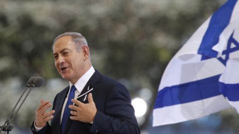 """Israeli Prime Minister Benjamin Netanyahu speaks at Peres' funeral. He said that Peres had """"lived a life of purpose. ... He was a great man of Israel, he was a great man of the world."""""""