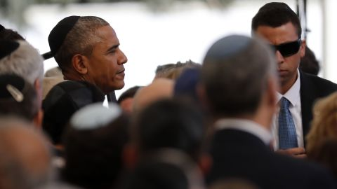 President Obama took time to greet guests before the ceremony.