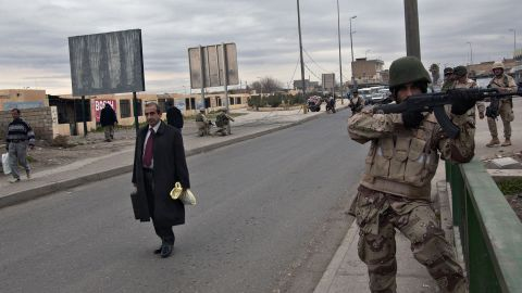 Iraqi police patrolled the city in 2005.