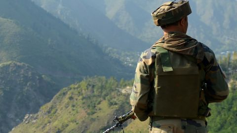 An Indian army soldier stationed near the border with Pakistan, known as the Line of Control (LoC), September 18, 2016.