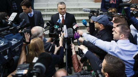 Hungarian PM Viktor Orban  during the country's referendum on EU migrant quotas.