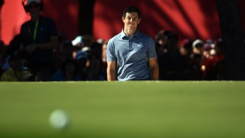 McIlroy fails to sink a chip shot on the 12th hole.