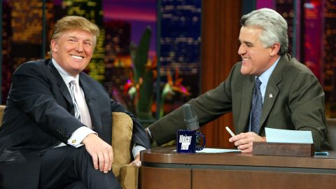 """In 1992, Leno became """"The Tonight Show's host,"""" taking over from Johnny Carson. He fronted the program for 17 years until 2009 and then again from 2010-2014, making him its second longest serving presenter after Carson. Leno is pictured with US presidential candidate Donald Trump."""