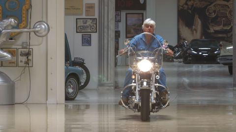 There are also a few motorbikes amongst Leno's collection, which he occasionally navigates around the spacious garage.