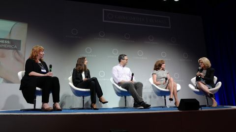 Executives from Etsy, Hilton and Foursquare along with Rep. Kathleen Rice (D-NY) speak at a panel on paid parental leave.
