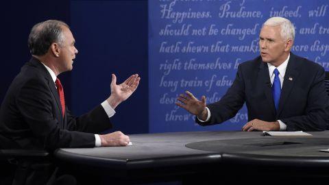 Pence debates Democratic vice presidential candidate Tim Kaine in October 2016.