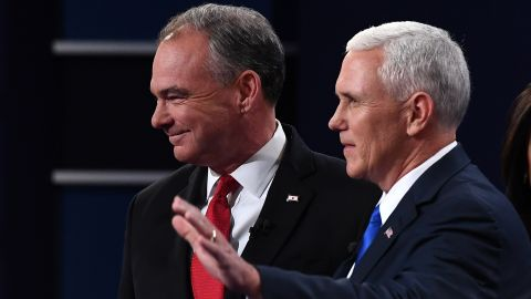 Mike Pence and Tim Kaine arrive for the vice presidential debate at Longwood University in Farmville, Virginia, on October 4, 2016.