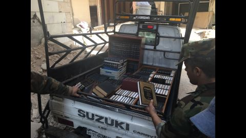 Syrian troops cleared the library of its books