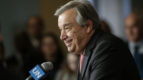 Antonio Guterres speaks to reporters on the selection of the next UN Secretary-General  at the UN headquarters in New York, on April 12,2016. (KENA BETANCUR/AFP/Getty Images)