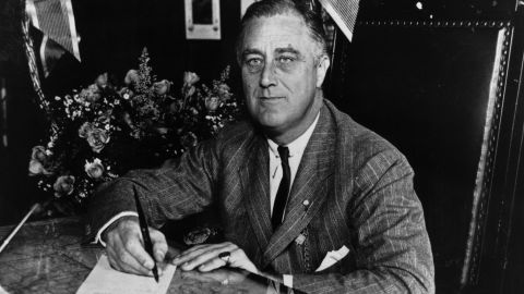 1936:  Franklin Delano Roosevelt (1882 - 1945) the 32nd President of the United States from 1933-45. A Democrat, he led his country through the depression of the 1930's and  World War II, and was elected for an unprecedented fourth term of office in 1944.  (Photo by Keystone Features/Getty Images)