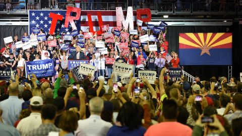 Republican presidential candidate Donald Trump speaks during a campaign rally at the Prescott Valley Event Center, October 4, 2016 in Prescott Valley, Arizona.