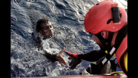 A migrant is rescued from the Mediterranean Sea.