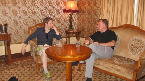 Robert Tibbo pictured here with Edward Snowden in Moscow in July 2016.
