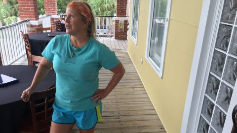 Karen Kelly, who runs a bed and breakfast in Tybee Island, Georgia, said she plans to stay put so she can help people if the storm hits.