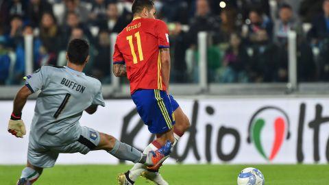 Gianluigi Buffon misjudges the ball and allows Vitolo to score.