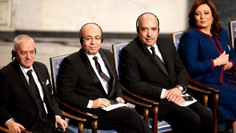 """The 2015 Nobel Peace Prize was awarded to the Tunisian National Dialogue Quartet for its """"decisive contribution to the building of a pluralistic democracy in the country in the wake of the Jasmine Revolution of 2011."""" From left to right: the Secretary General of the Tunisian General Labour Union Houcine Abbassi, the President of the National Order of Tunisian Lawyers Fadhel Mahfoudh, the Tunisian Human Rights League Abdessatar Ben Moussa and the President of the Tunisian employers union Wided Bouchamaoui."""