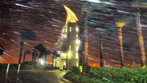 Heavy rain billows in front of Exploration Tower in Cape Canaveral, Florida, on October 7.