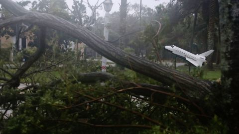 A space shuttle model stands near some downed trees after Hurricane Matthew passed by Cocoa Beach.