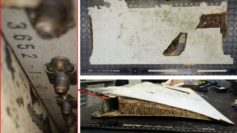 """A left outboard flap trailing edge section found on the island of Mauritius in May 2016. <a href=""""http://minister.infrastructure.gov.au/chester/releases/2016/October/dc135_2016.aspx"""" target=""""_blank"""" target=""""_blank"""">In October</a>, it was confirmed as coming from MH370."""