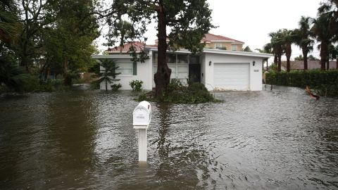 A home is surrounded in Hurricane Matthew's flood waters, October 7, 2016 on Port Orange, Florida.