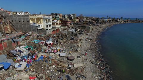 An aerial view of damage to the small village of Casanette near Baumond, Haiti on Saturday. The full scale of the devastation in rural Haiti is becoming clear in the days after Hurricane Matthew leveled huge swaths of the country's south.
