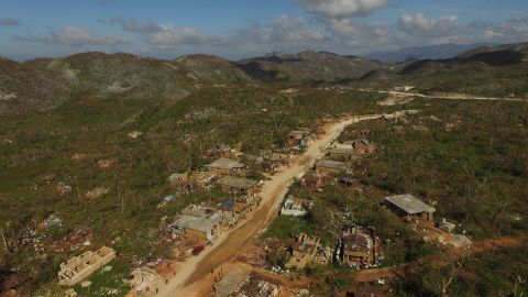 An aerial view of the destruction in Casanette, Haiti, caused by Hurricane Matthew on October 8.