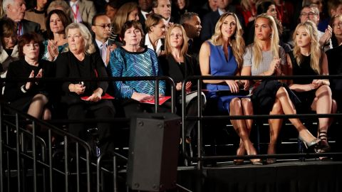 """Also sitting in the audience were, from left, Kathleen Willey, Juanita Broaddrick and Kathy Shelton. Less than two hours before the debate, those three -- along with Paula Jones -- <a href=""""http://www.cnn.com/2016/10/09/politics/donald-trump-juanita-broaddrick-paula-jones-facebook-live-2016-election/index.html"""" target=""""_blank"""">appeared in a Trump news conference</a> to speak out against the Clintons. Willey, Broaddrick and Jones have previously accused former President Bill Clinton of inappropriate sexual behavior. Shelton's rapist was defended by Hillary Clinton as a young lawyer. That man was convicted of a lesser charge and served 10 months in jail."""