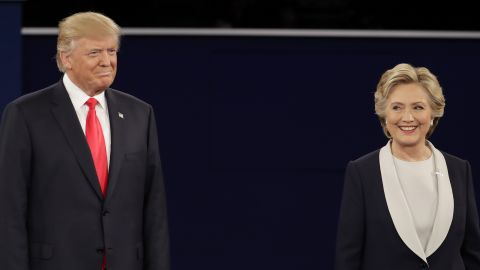 Both candidates kept their distance at the start of the debate.