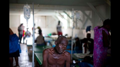 A cholera patient receives treatment at a state hospital in Jeremie on October 9.