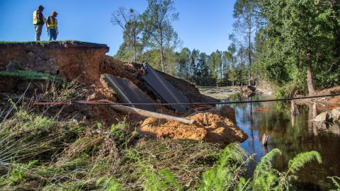 A section of Wayne Memorial Drive was washed out in Goldsboro, North Carolina.