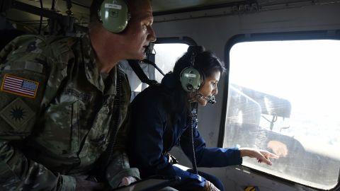 South Carolina Gov. Nikki Haley checks flooding near Nichols on October 10.