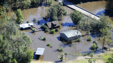 Floodwaters surround a house in Nichols, South Carolina, on October 10.