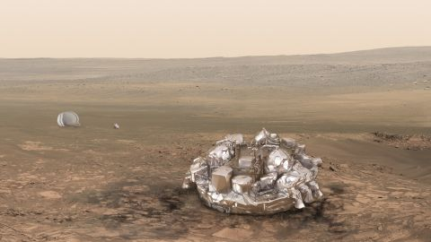 """One of the aims of the mission is to test a<a href=""""http://exploration.esa.int/mars/47852-entry-descent-and-landing-demonstrator-module/"""" target=""""_blank"""" target=""""_blank""""> landing craft called Schiaparelli</a>, pictured on Mars in this artist's impression."""