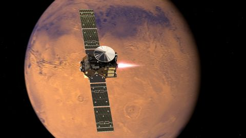 """<a href=""""http://exploration.esa.int/mars/46475-trace-gas-orbiter/"""" target=""""_blank"""" target=""""_blank"""">The ExoMars Trace Gas Orbiter </a>arrives will look for gases that could signal biological activity. Pictured, a representation of the orbiter beginning its entry into Mars orbit."""
