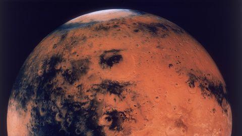 A mosaic of the Schiaparelli Hemisphere of the planet Mars, showing the Schiaparelli Crater, circa 1980.