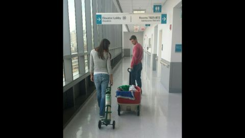 When the boys were younger they could be transported in a kid's wagon, seen here when they were three months old at Rush University Medical Center in Chicago.