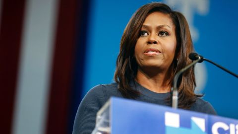 """""""The men that you and I know don't treat women this way,"""" First Lady Michelle Obama told the rally."""