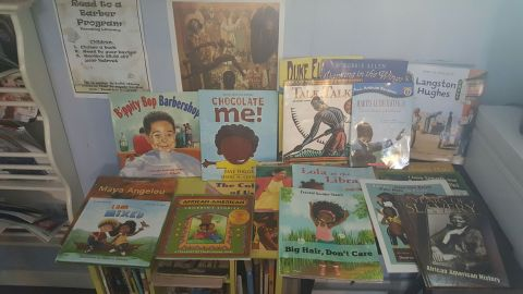 The barbershop's library