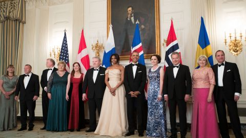 The leaders of Denmark, Norway, Iceland, Finland and Sweden are hosted by the Obama in the State Dining Room at the White House on May 13, 2016.