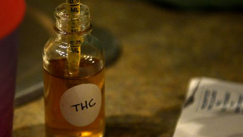 The main psychoactive component in marijuana, <strong>tetrahydrocannabinol (THC) </strong>acts as a cannabinoid chemical in our brains, activating the body's pleasure, movement and concentration functions. THC triggers the release of dopamine, the chemical in our brains that signals a reward, which evokes euphoria and a trance-like state. The effects of THC include impaired motor skills, as well as potential long-term health risks such as memory decline and schizophrenia.