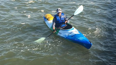 """""""Generally I don't get wet, so I can make do with the same clothes [to wear to work]. Some days I'll bring a change of clothes in the waterproof bag that straps to the back of the kayak. Outside of ice in the river, I'll make the commute ... a bit of rain or wind doesn't stop me,"""" said Schwitzky."""