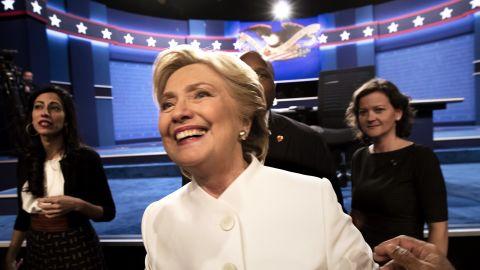 Democratic presidential candidate Hillary Clinton following the third presidential debate in Las Vegas, Nevada, October 19, 2016.