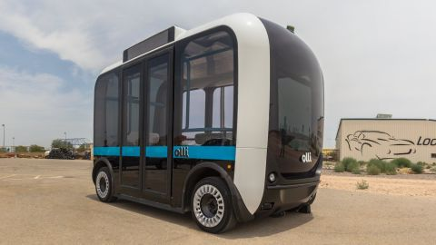 """The """"Olli"""" is a self-driving, electric bus from Local Motors, which is currently on trial ahead of commercial launch in US cities including Las Vegas and Miami in 2017."""