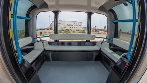 """""""Olli"""" holds 12 passengers, and is expected to initially operate in closed network locations such as campuses and airports."""